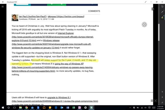 Pomocí pera Surface Pen nebo zvýrazňovače můžete články před uložením na Disk Google zvýraznit