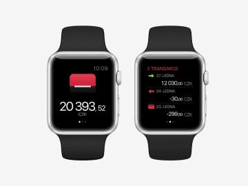 Vzhled Mobilní banky na chytrých hodinkách Apple Watch.