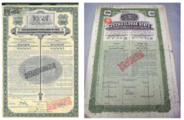 Aby československá vláda mohla provádět devizové intervence posilující kurz koruny, musela přijmout zahraniční úvěry. Fyzickým dokladem toho jsou tehdy emitované dluhopisy, které pomohly vládě devizy získat.