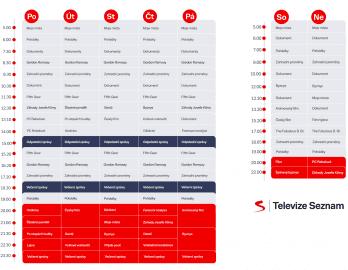 Programové schéma TV Seznam od září 2020