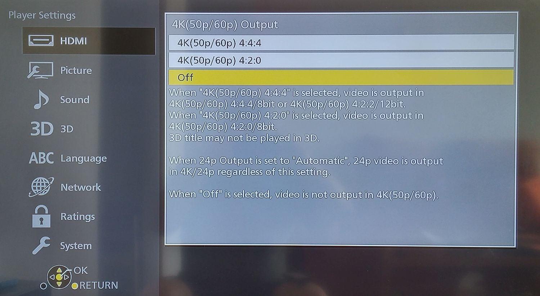 Panasonic DMP-UB900 - menu nastavení