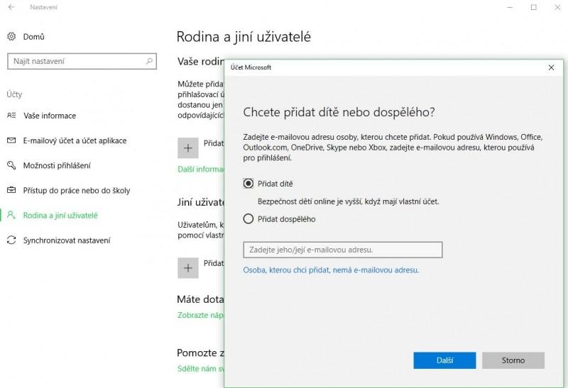 Operační systém Windows 10 vás krok po kroku provede jednotlivými fázemi konfigurace rodičovské kontroly na vašem počítači