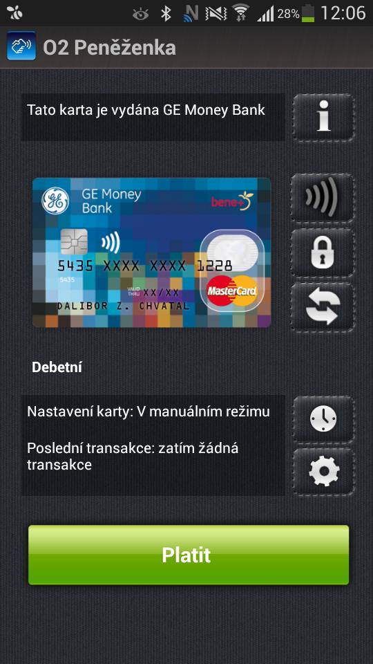 ČSOB O2 NFC SIM platební karta