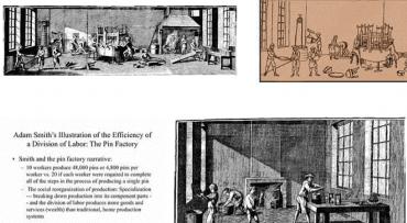 Dělba práce na příkladu špendlíků z pera Adama Smithe. Továrna na špendlíky ilustrovala efektivnost dělby práce, je-li práce rozdělena, stejný počet pracovníků dokáže vyrobit násobně vice špendlíků.