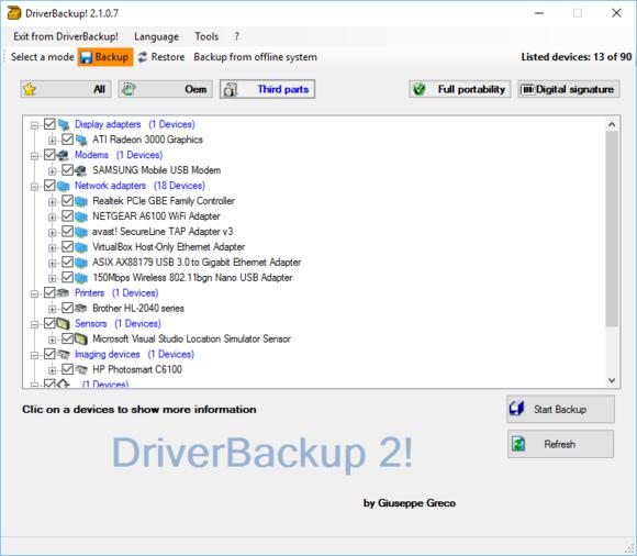 Utilita DriverBackup! dokáže zálohovat a následně i obnovit ovladače jednotlivých počítačových komponent