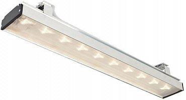 """Zapůjčený Ledeos Linear 40W (verze s 10 a nikoli 12 LED). Držáky tělesa mohou být buď takovéto, nebo se za příplatek dodává drátová varianta. Krycí plexisklo z jednotlivých LED diod vymaluje přesně ten """"hvězdičkový"""" efekt, který vidíte na snímku."""