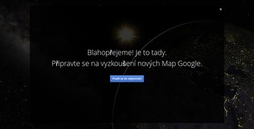 Uvítací obrazovka nových map od Google