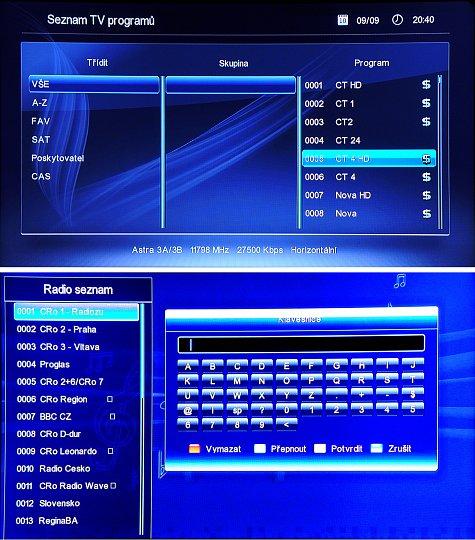 Seznam TV programů zobrazíme tlačítkem OK, nebo tlačítkem FAV (horní obrázek). Editace seznamu programů je patrná z obrázku. Tlačítkem FIND (spodní obrázek) zobrazíme Seznam televizních, nebo rozhlasových programů. Pro rychlé vyhledání příslušného programu máme k dispozici virtuální klávesnici.