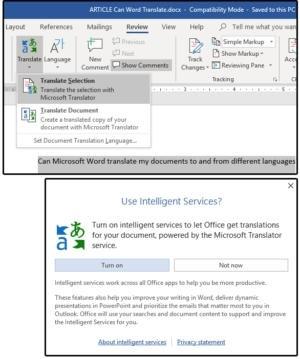 Vyberte text, který chcete přeložit a stiskněte tlačítko Translate. Následně službu pomocí tlačítka Turn on zapněte