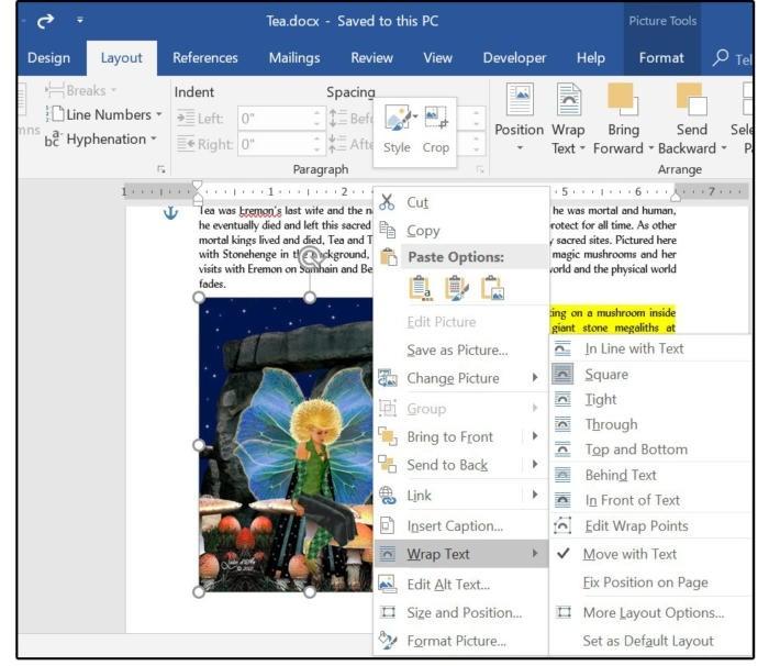 Možnosti úpravy obrázku včetně možností zalamování textu