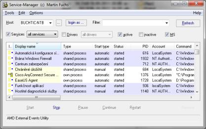Pomocí Service Manager máte detailní přehled nejen o službách Windows