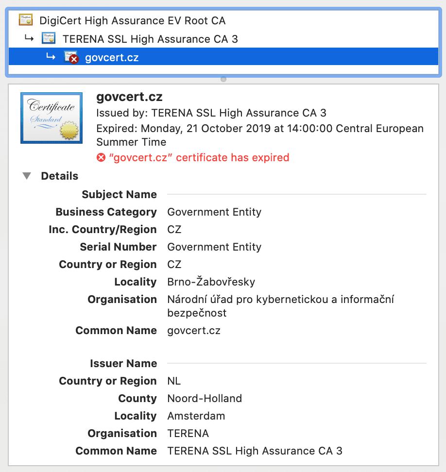 Konec platnosti SSL certifikátů na NUKIB.cz a GovCERT.cz