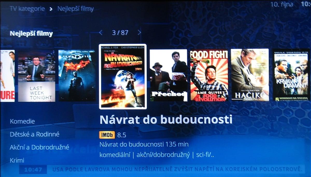 Moje menu O2 TV
