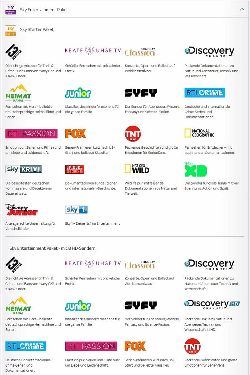 Přehled nabízených programů Sky pro Vodafone GigaTV