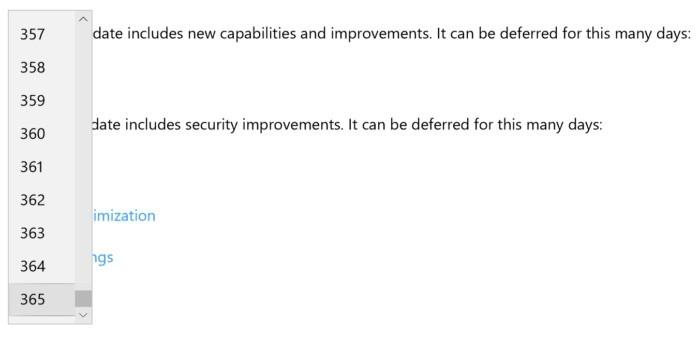 """Tato rozevírací nabídka vám umožní nastavit dobu, po kterou budete chtít odložit aktualizace funkcí nebo aktualizace """"kvality"""", které mohou obsahovat aktualizace zabezpečení"""