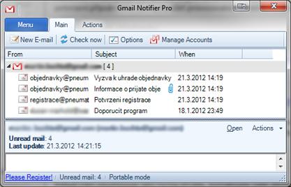 Gmail Notifier Pro monitoruje vaši schránku