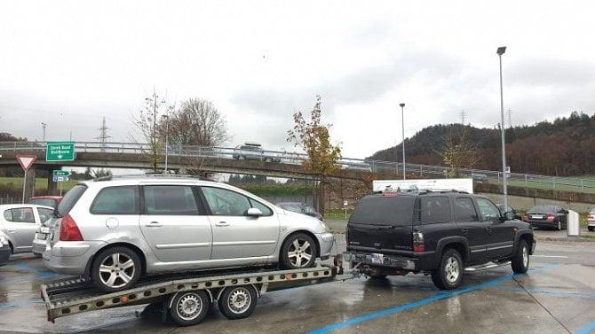 Odtah nepojízdného Peugeotu 307 SW ze Švýcarska do Česka. (10. 11. 2016)