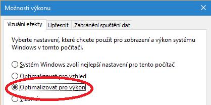 Optimalizace pro výkon ve Windows 10
