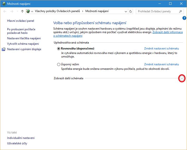 Možnosti napájení ve Windows 10
