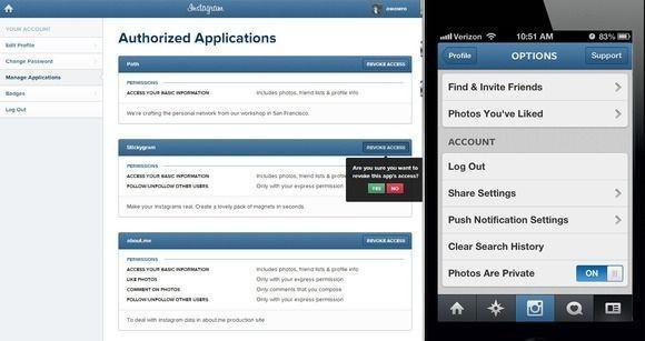 V mobilní aplikaci můžete přepnout profil Instagramu na soukromý a zrušit autorizaci aplikací třetí strany, aby nemohly přistupovat k vašemu vláknu na Instagramu z internetu. Obráceně to bohužel nejde.