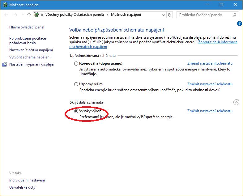 Schéma Vysoký výkon ve Windows 10