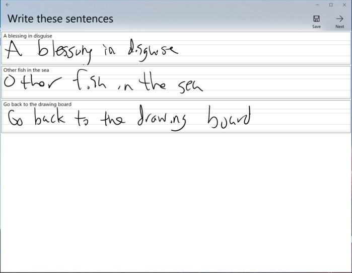 Microsoft Font Maker vás požádá, abyste napsali několik vět, aby vyladil mezery a aby zjistil, jak se budou oddělovat slova. (Věty, které máte psát, se čas od času mohou měnit).