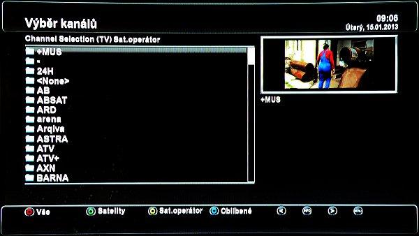 Výběr kanálů podle satelitního operátora.