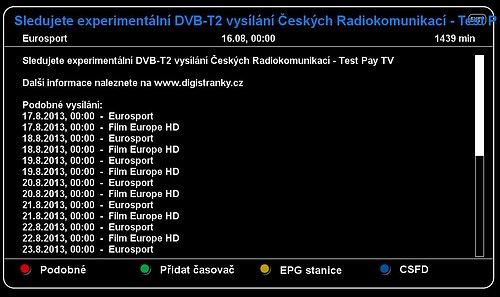 Textová informace, která se nachází na programové pozici Film Europe a Eurosportu.