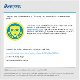 Sláva, mám obrázek! Přece teď nemůžu přestat hrát. Odznáčky z Foursquaru jsou příznakem pokročilé gamifikace.