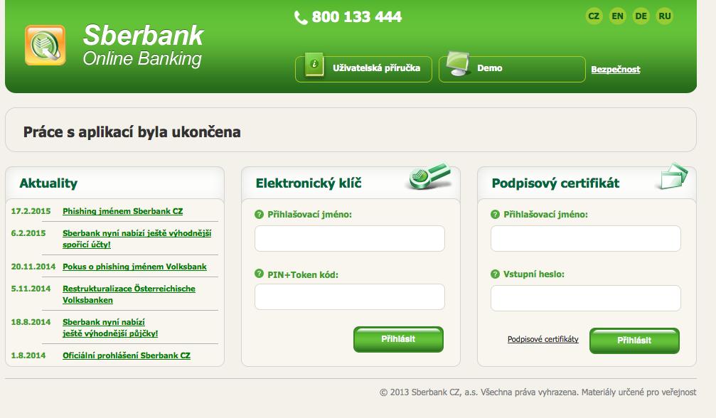 Sberbank. Internetové bankovnictví