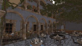 Testovací scéna San Miguel běžící v Qt Quick 3D
