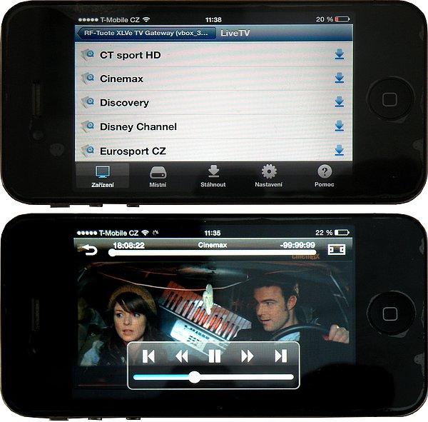 Na svém smartphonu si zobrazíte oblíbené pořady ze satelitu (zde s iOS), nebo tabletu (Android)