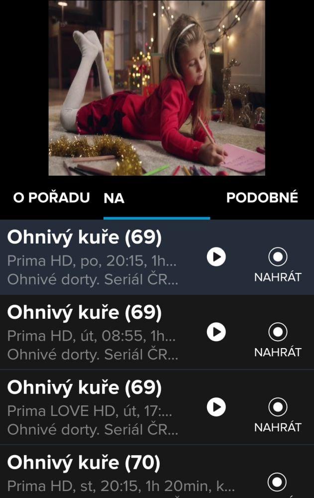Digi2GO v mobilu, EPG, zpětné přehrání