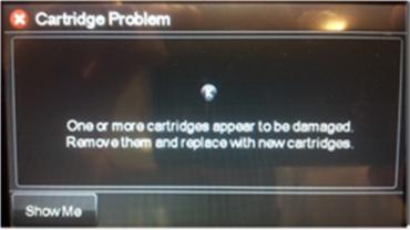 Chybová hláška tiskáren HP s neoriginální náplní.