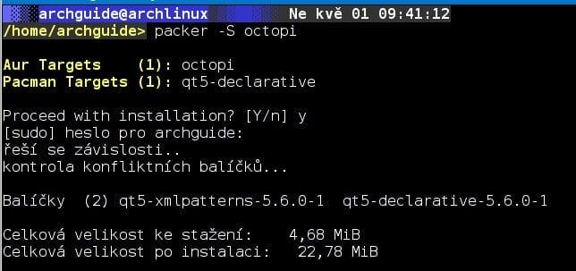 Arch: grafický správce balíčků Octopi