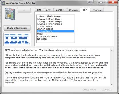 Beep Codes Viewer je databáze chybových pípání BIOSu