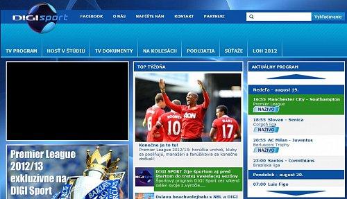 Digi Sport používá nové logo a grafiku také na svém webu.
