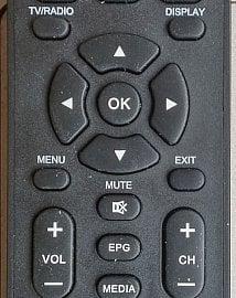 Detail středové části dálkového ovladače. Povšimněte si výborně umístěného EPG či ztlumení hlasitosti.