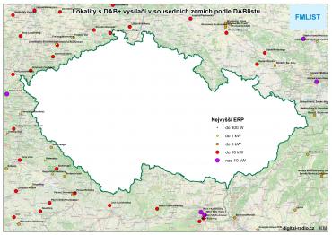Lokality s DAB+ vysílači v sousedních zemích