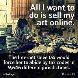 Jeden z plakátů kampaně proti schválení Marketplace Fairness Act of 2013 upozorňuje na administrativní zátěž, kterou podle kritiků zákon způsobí malým internetovým prodejcům. Autorem je konzervativní think tank Heritage Foundation.