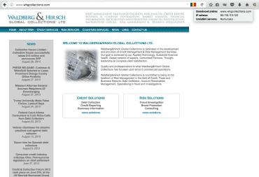 """Web """"vymáhací"""" agentury Waldberg & Hirsch Global Collections Ltd. Tato firma neexistuje, je to podvrh. Server sídlí v Rumunsku."""