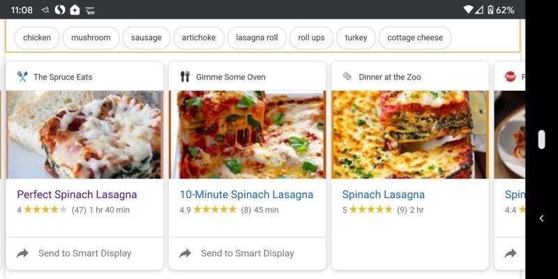 Recepty můžete hledat i na svém smartphonu nebo tabletu a pak kterýkoliv, který se vám zalíbí, jednoduše poslat do inteligentního reproduktoru Google Home.