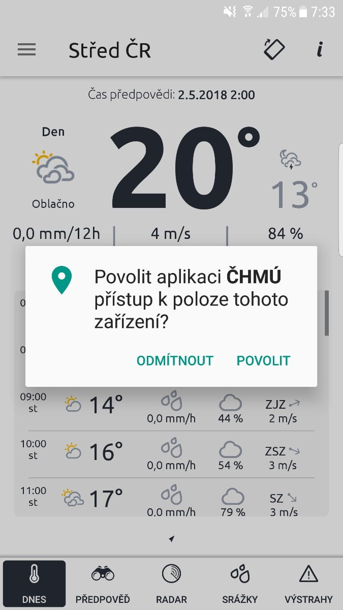 ČHMÚ má nové mobilní aplikace se stavem i předpovědí počasí