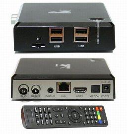 DI-Way K1 And-4 DVB-T2 Quad Core  (2.290 Kč) není tradičním set-top boxem v to původním smyslu slova. Je to spíše multimediální přehrávač s tunerem, o. s. Android 4.4 a samostatnou grafikou Mali-450MP.