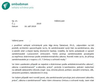 Vyjádření paní ombudsmanky.