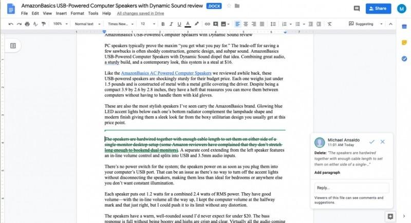 Sada G Suite vám umožní změny v souborech Wordu ještě předtím, než se stanou trvalými, pouze navrhnout.