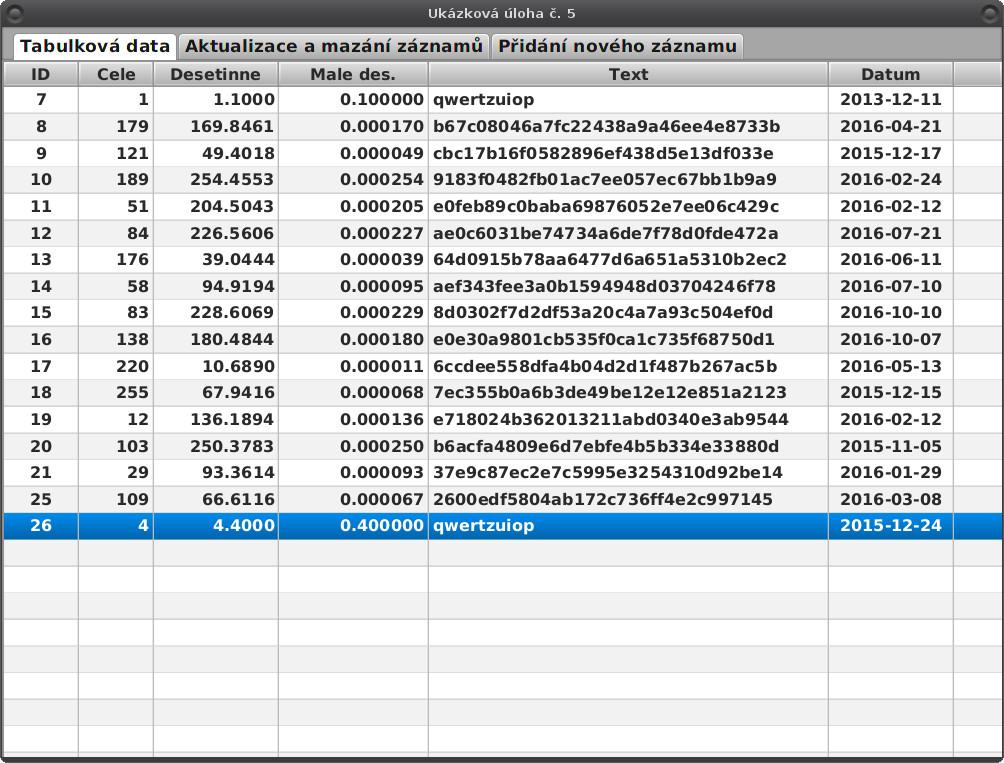 JavaFX: aktualizace a vkládání záznamů JOOQ