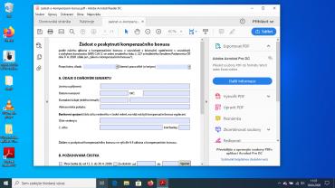 Formulář na Windows 10 s použitím Adobe Acrobat Reader 10.