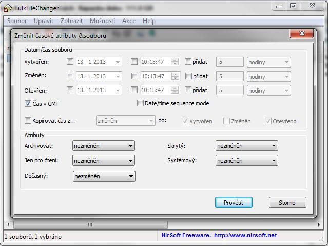 BulkFileChanger dokáže změnit hromadně atributy souborů