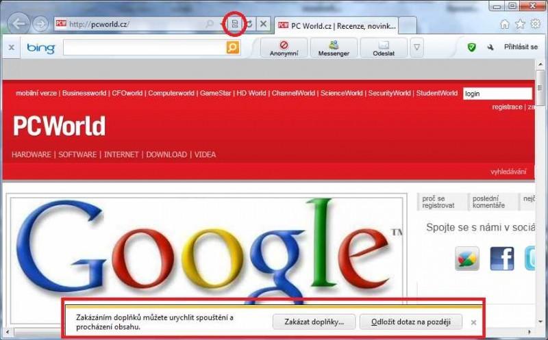 V režimu kompatibilního zobrazení zobrazuje Internet Explorer správně i velmi složité internetové stránky, u nichž by mohlo dojít při standardním nastavení k chybné interpretaci zdrojového kódu. Stavová hlášení byla v Internet Exploreru 9 přesunuta do spodní části okna prohlížeče, kde údajně daleko méně ruší